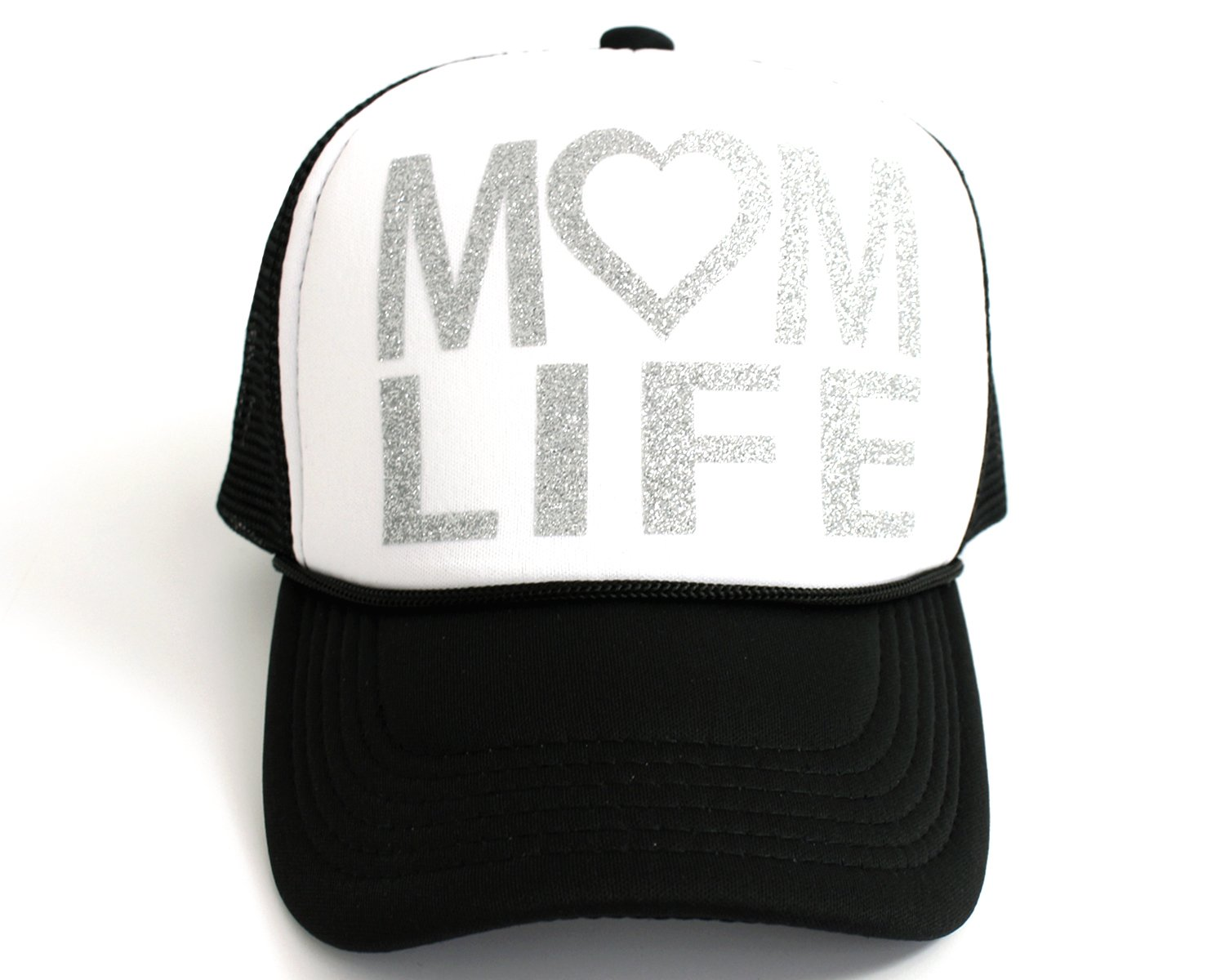 High Limit Mom Life Heart Silver/White Trucker Hat with Silver Glitter Lettering Accessories