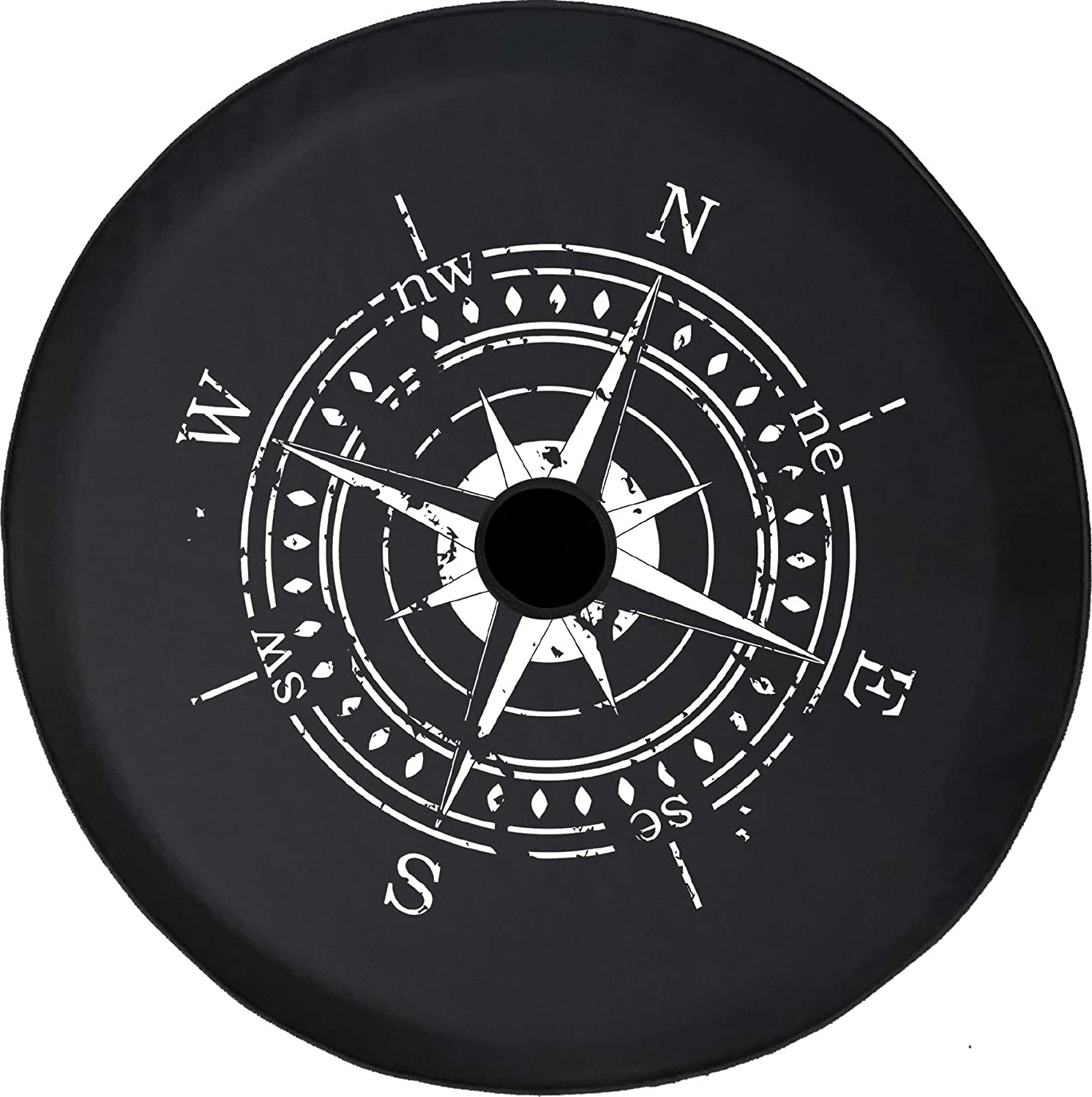 Pike Outdoors JL Series Spare Tire Cover Backup Camera Hole Distressed Nautical Compass Travel Black 32 in
