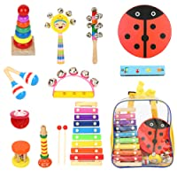 Kids Musical Instruments 12 Types 16pcs Xylophone Instrument for Percussion- Tambourine Set Educational Musical Toys for Kids Toddler Boys and Girls with Storage Backpack Random Delivery of Colors