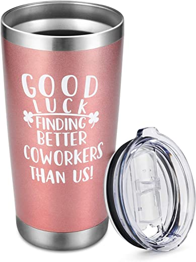 Gifts for Coworkers Leaving Women - 20oz Wine Tumbler with Sayings Good Luck Finding Better Coworkers Than Us, Coworkers Going Away Farewell Goodbye New Job Gifts Insulated Cup with Lid Rose Gold