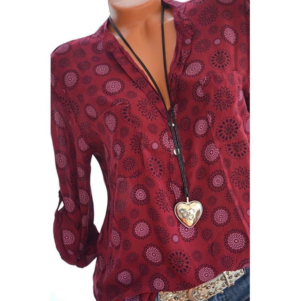 Beikoard Mangas largas de Las Mujeres, Camisas Finas de la Camisa, Camiseta Impresa v-Collar de la Manera