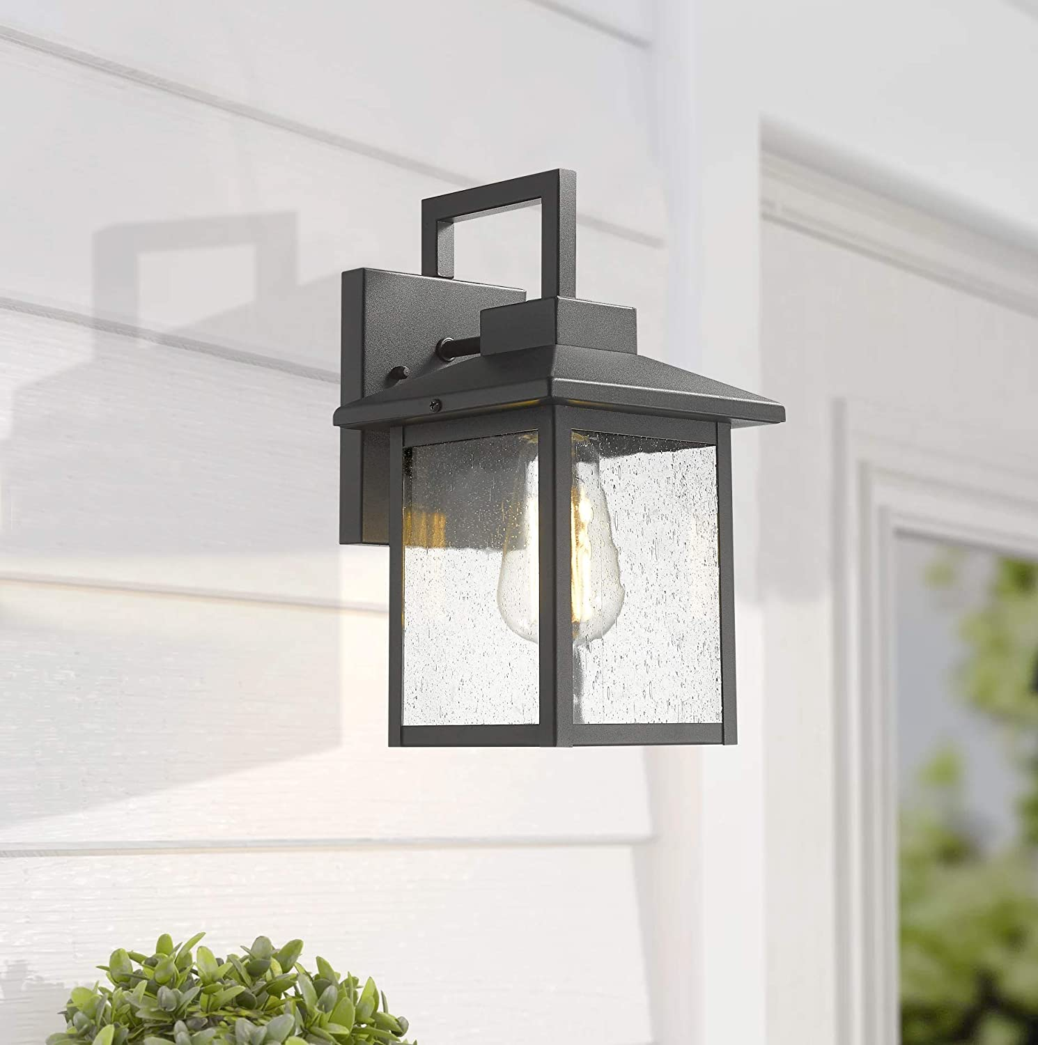 Exterior Wall Lantern/with Seeded Glass Shade Bestshared Indoor Outdoor Wall Mount Light Fixture 1-Light Wall Sconce Mounted Light Black, 1 Piece
