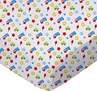 product image for SheetWorld Fitted 100% Cotton Percale Pack N Play Sheet Fits Graco 27 x 39, Baby Cars & Trucks, Made in USA