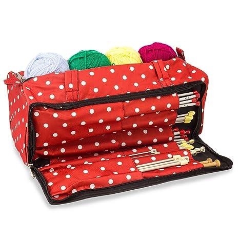 Bolsa de tejer con accesorios de costura, manualidades y ...