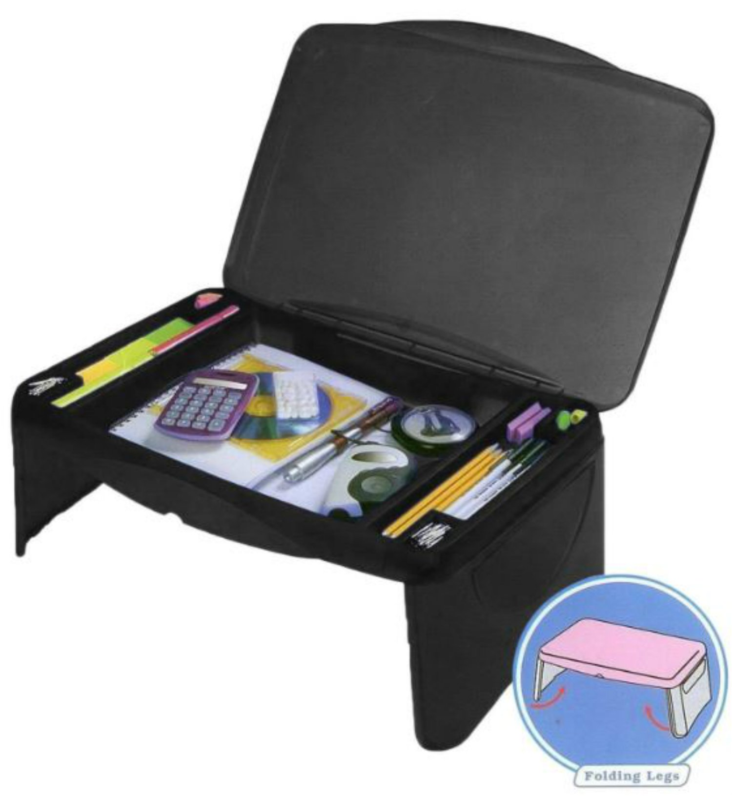 Kids Folding 17'' x 11'' Lap Desk with Storage - Black - Durable Lightweight Portable Laptop Computer Children's Desks for Homework or Reading. Breakfast Tray Food Table
