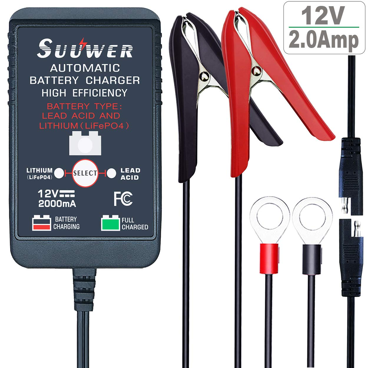 Suuwer SE Automatic Trickle Battery Charger 12V 2A Lead Acid or Lithium (LifePO4) Smart Battery Charger Maintainer.
