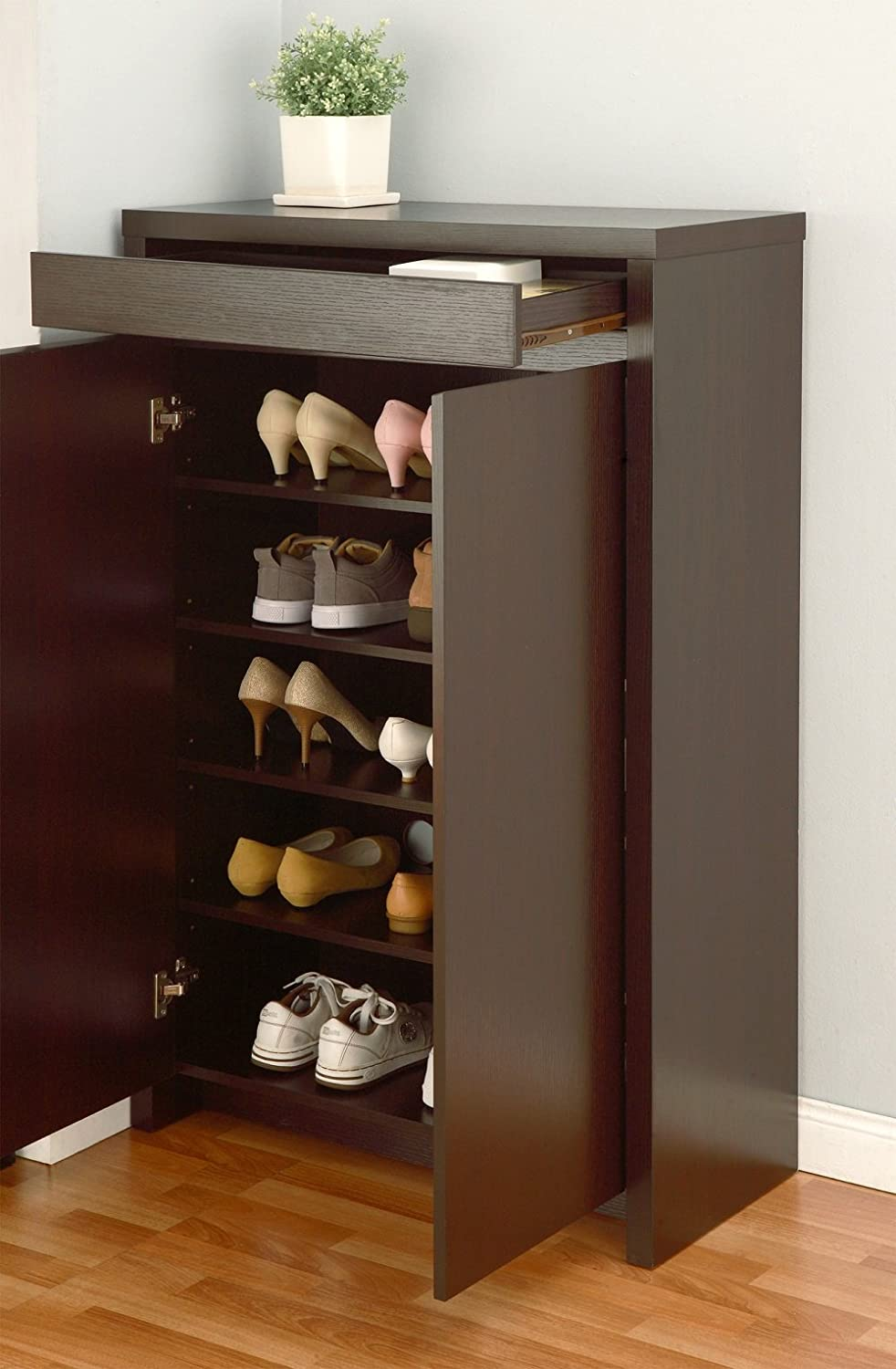 Amazon.com: Shoe Cabinet With Storage Drawer Includes Five Shelves For Your  Shoes: Home U0026 Kitchen