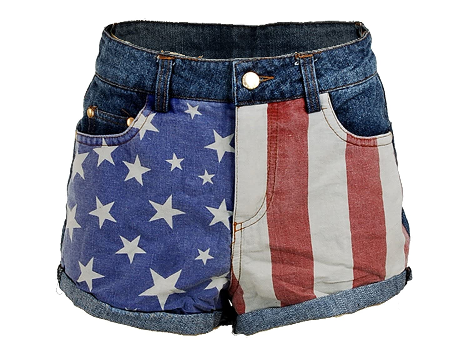 cf9b9030d044 US USA American Flag Printed Low Rise Denim Jeans Women s Shorts Hot Pants  - Medium at Amazon Women s Clothing store