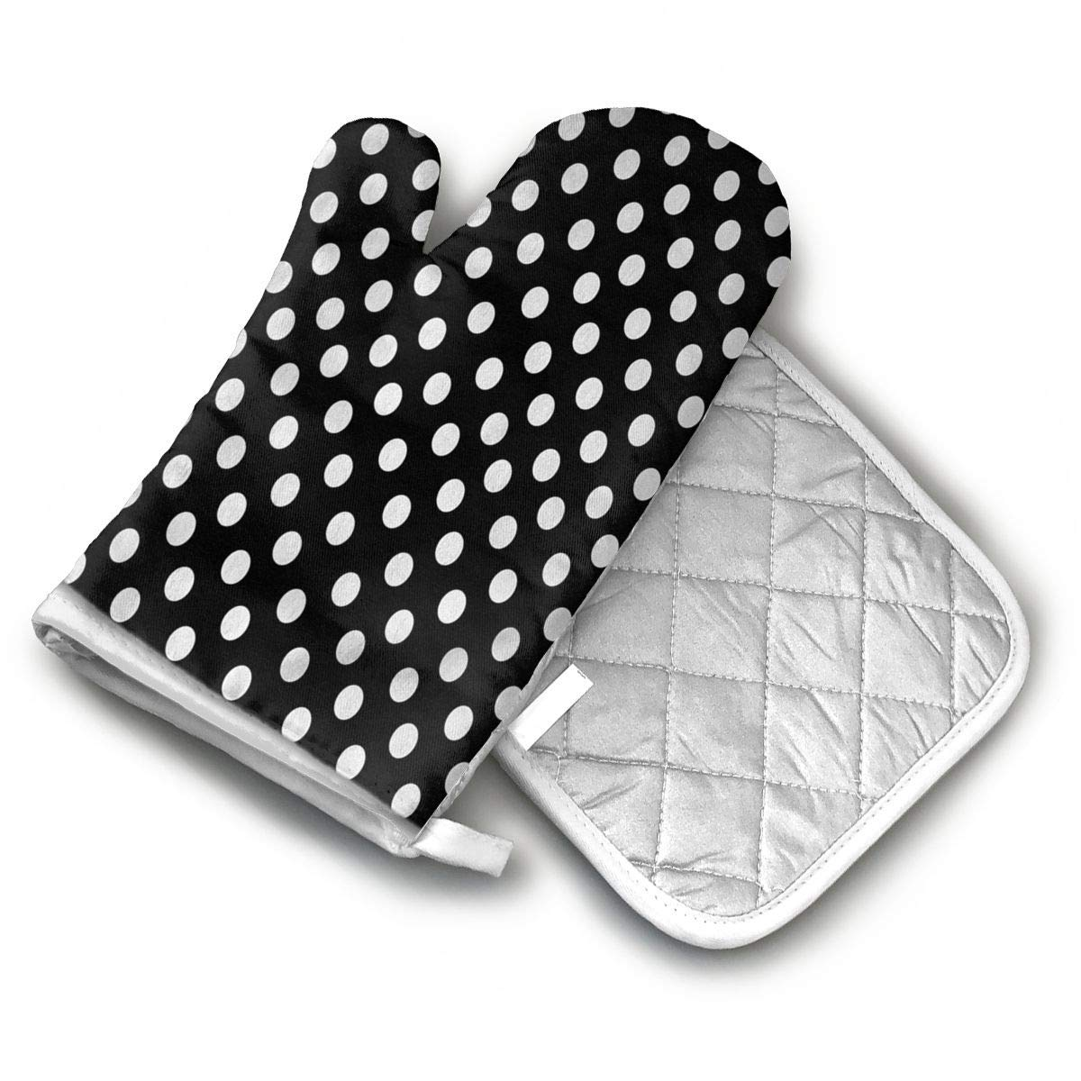 AISDHAJKSD Polka Dot Designs White Polka Dots On Classy Black Premium Terylene/Nylon Oven Mitts and Pot Mat,Pot Mat/Hot Pads, Heat Resistant Gloves BBQ Kitchen