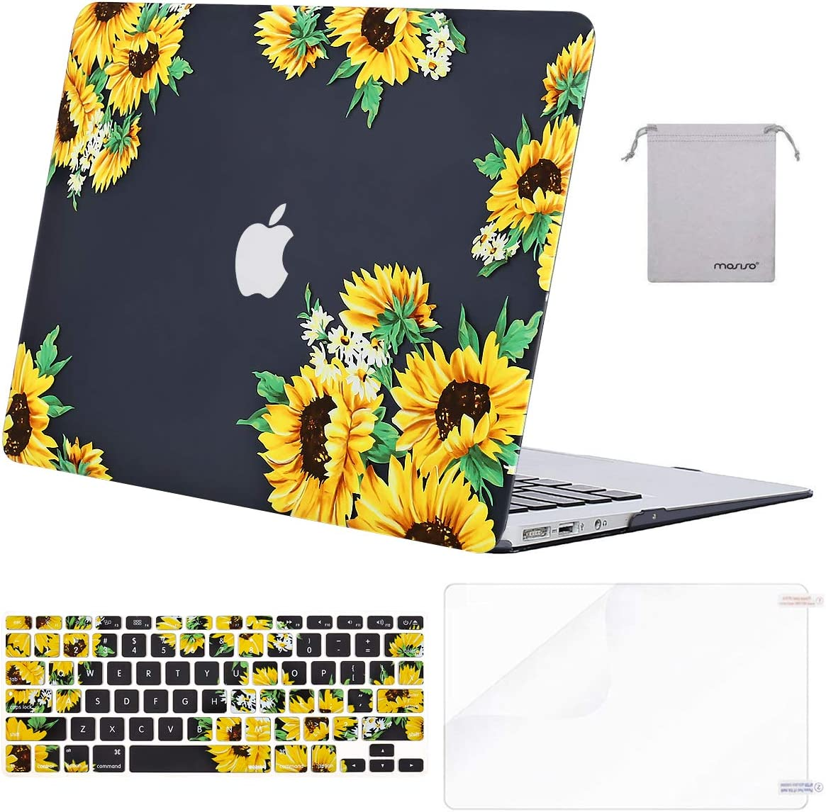 MOSISO MacBook Air 13 inch Case (A1369 A1466, Older Version 2010-2017 Release), Plastic Sunflower Hard Shell&Keyboard Cover&Screen Protector&Storage Bag Compatible with MacBook Air 13 inch, Black