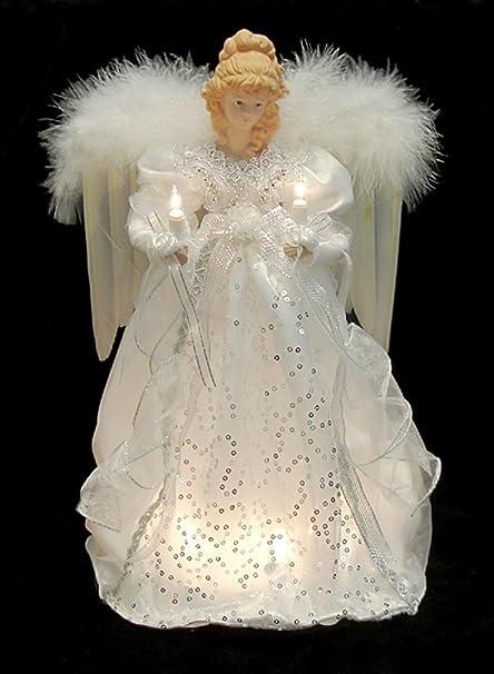 "KSA 14"" Ice Palace Lighted White & Silver Angel Christmas Tree Topper  ... - Amazon.com: KSA 14"