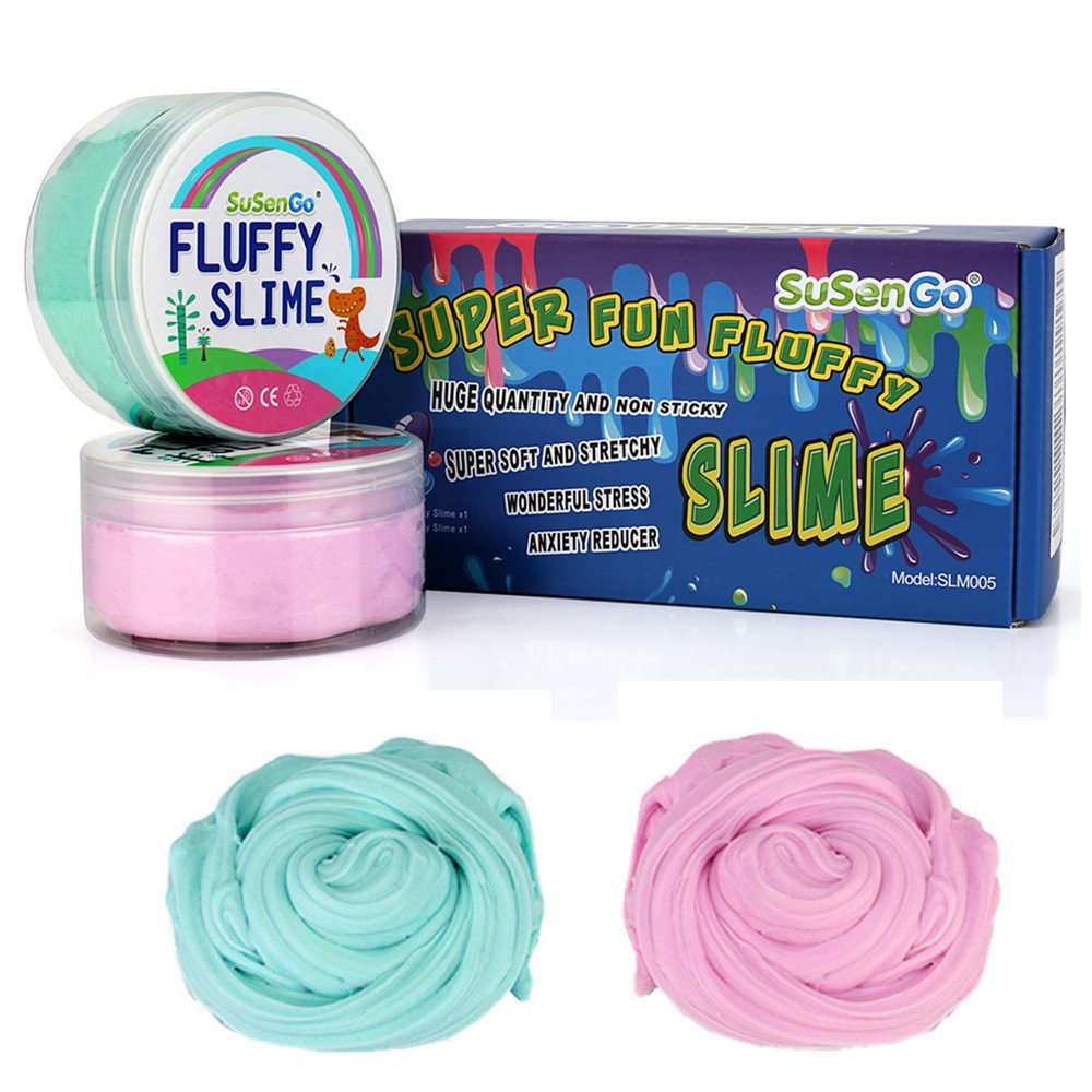 Fluffy Floam Slime - SuSenGo 12 OZ Pink e Baby Blue Jumbo Fluffy Floam Slime Slime Giocattolo antistress per bambini e adulti, super morbido e non appiccicoso