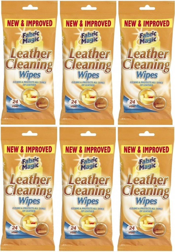 6 x Packs Of Fabric Magic Leather Cleaning Wipes - 24 Wipes 151