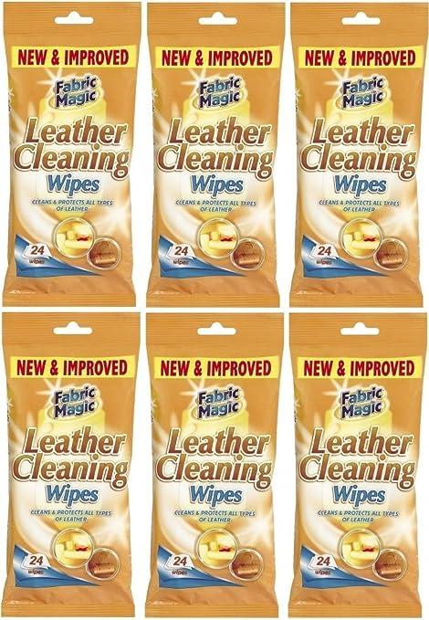 Fabric Magic 6 Paquetes de Toallitas de tela para limpiar Cuero – 24 toallitas