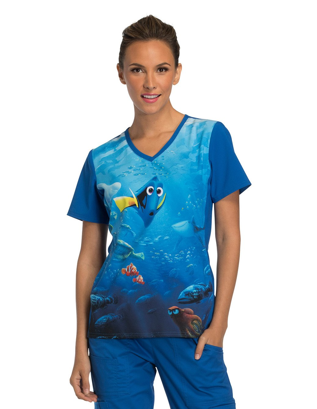 Tooniforms by Cherokee Women's V-Neck Knit Panel Finding Dory Print Scrub Top Large Print