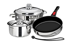 Magma Products, A10-363-2-IND, Gourmet Nesting 7-Piece Stainless Steel Induction Cookware Set with Ceramica Non-Stick