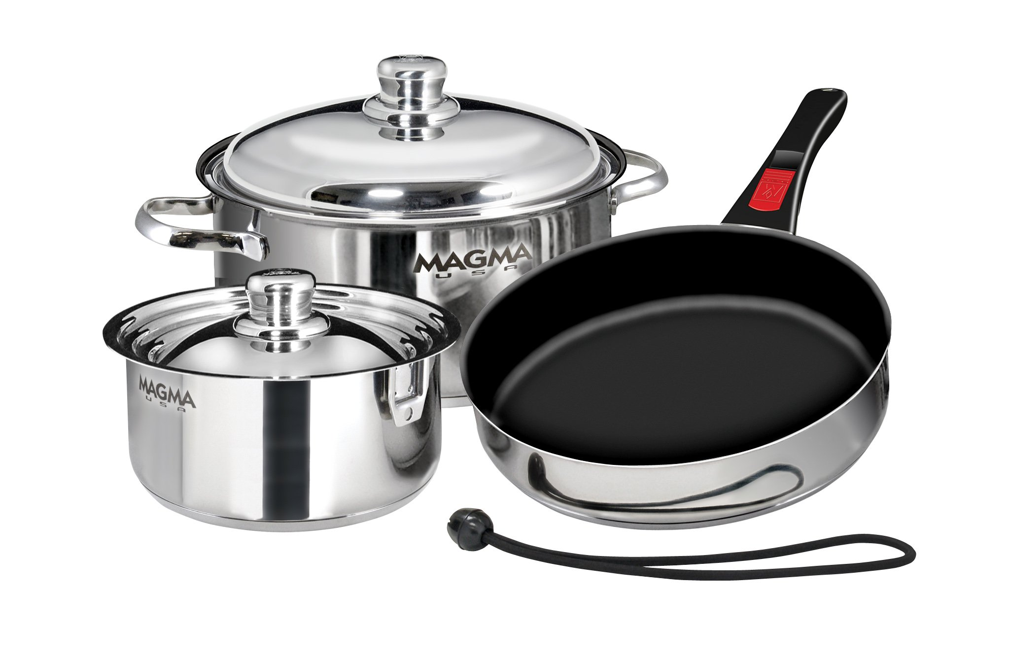 Magma Products, A10-363-2-IND, Gourmet ''Nesting'' 7-Piece Stainless Steel Induction Cookware Set with Ceramica Non-Stick by Magma Products