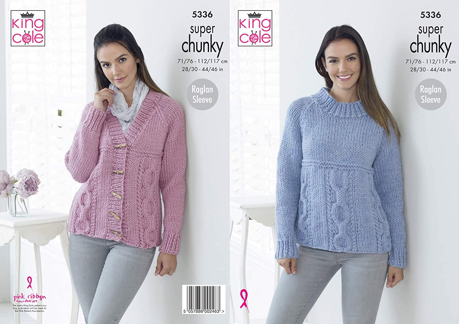 King Cole Ladies Double Knitting Pattern Raglan Cabled Sweater /& Cardigan 4839