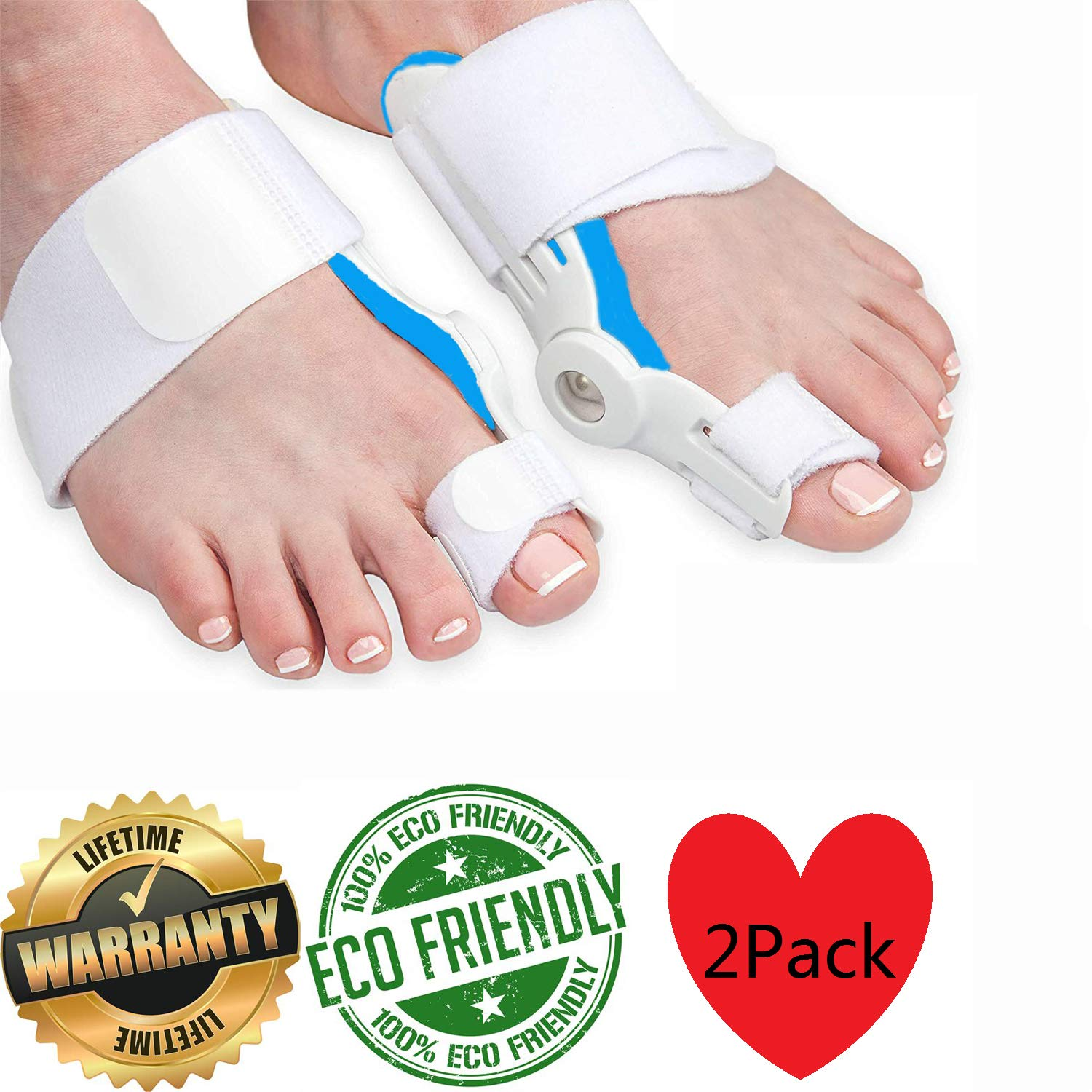 Bunion Corrector and Bunion Relief Bunion Splint with Soft Silicone Pad- Bunion Pads for Men and Women Hammer Toe Straightener and Bunion Protector Cushions - Relieve Hallux Valgus Foot Pain (1 Pair)