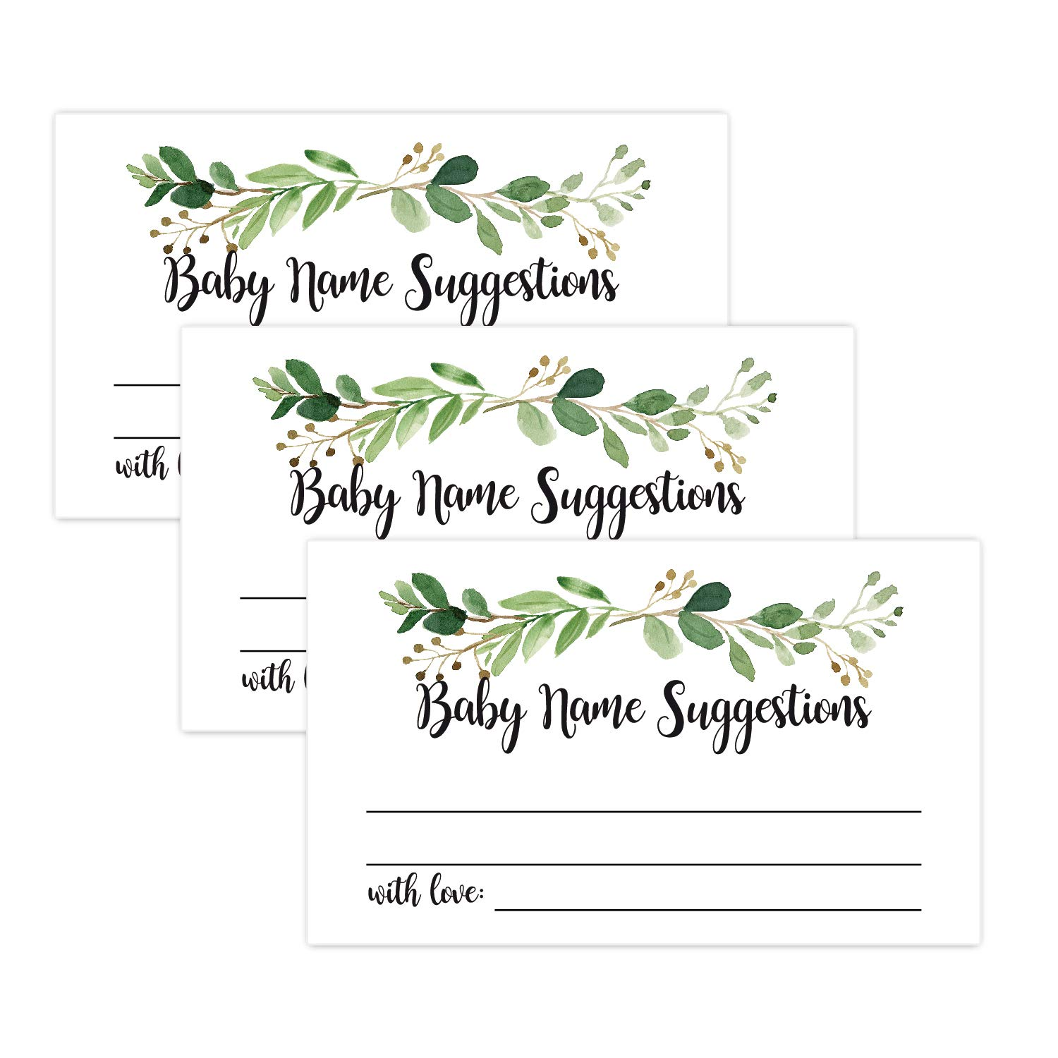 graphic relating to Baby Shower Cards Printable known as 50 Greenery Child Reputation Recommendations Playing cards, Printable Environmentally friendly Foliage Child Reputation Activity, Child Shower Match Assistance Card, Greenery Shower Decoration, Kid