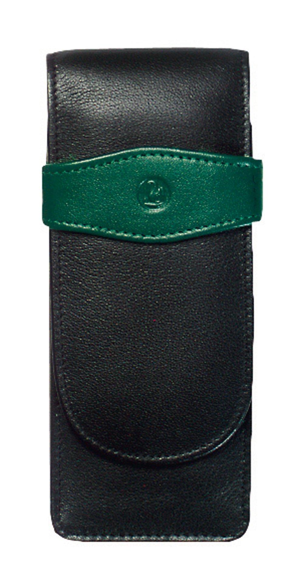 Pelikan Leather Triple Pen Case, Black/Green (924092)