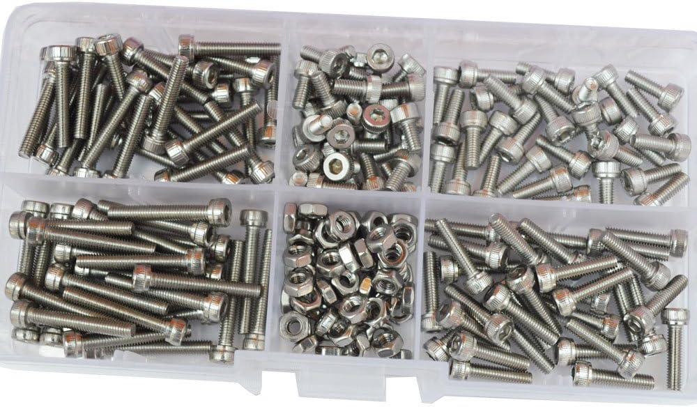M2 M3 Hex Socket Head Cap Metric Screw Nut Assortment Kit 420pcs,304Stainless Steel ALBERT GUY