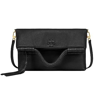 d45e230f8a85 Tory Burch Women s Taylor Convertible Fold over Crossbody Tote Bag Purse  Black  Handbags  Amazon.com