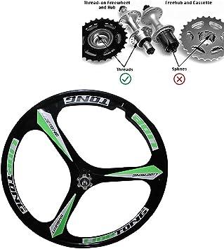 JARONOON Llantas de Bicicleta de montaña de 26 Pulgadas Llantas de Bicicleta de aleación de magnesio de 3 radios aptas para Rosca Rueda Libre (Negro Verde, 26 Pulgadas): Amazon.es: Deportes y aire libre