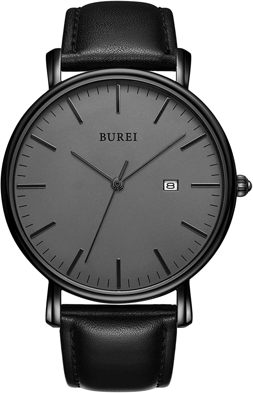 BUREI Men s Watch Ultra Thin Black Quartz Analog Wrist Watch Date Calendar Stainless Steel Mesh Band Leather Band