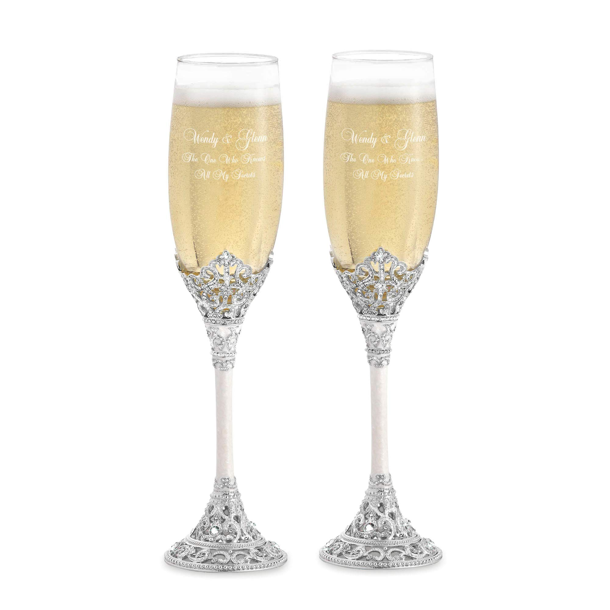 Things Remembered Personalized Fifth Avenue Toasting Flutes Set with Engraving Included