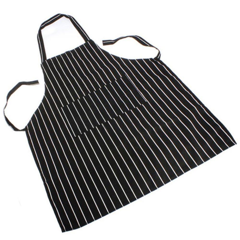 Black Checks dragonaur Man Women Striped Plaid Catering Chef Waiter Bar Long Waist Apron with Pocket size Medium