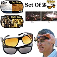 PRAMUKH PUBLICITY HD Vision Day and Night Riding UV Protected Anti-Glare Polarized Unisex Sunglass/Goggles, Car Drivers (Yellow-Black) -Combo Pack Set of 2