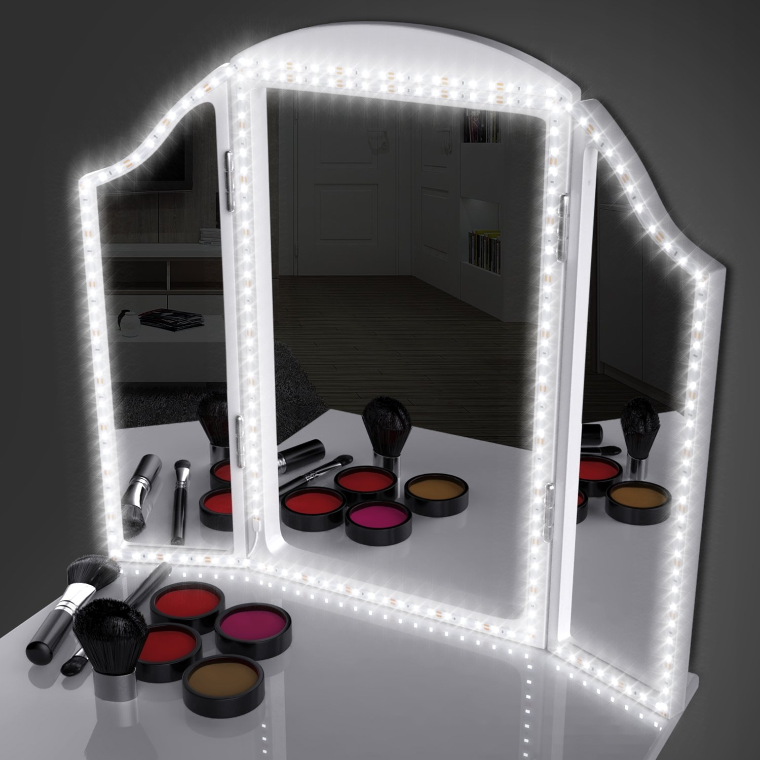 LED Mirror Lights Kit for Makeup, 13ft/4M 240 LEDs Make-up Light Strip for Vanity Table with Dimmer and Power Supply, 6000K Daylight Glow - Mirror not Included