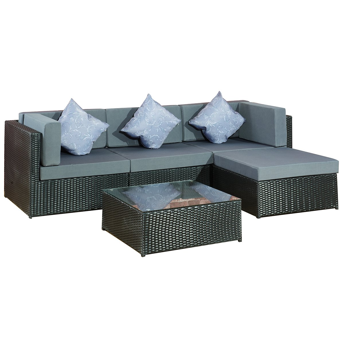 gartenmoebel gartenset bergen ii schwarz grau aus stahl lounge neu xxl rattan polyrattan. Black Bedroom Furniture Sets. Home Design Ideas