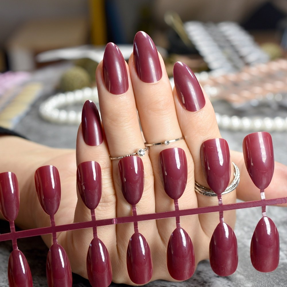 Amazon.com : Almond Design Nail Tips Dark Red Wine Medium Candy Nails  Pointed DIY Stiletto Artificial False Nails without Glue Sticker P83P :  Beauty - Amazon.com : Almond Design Nail Tips Dark Red Wine Medium Candy