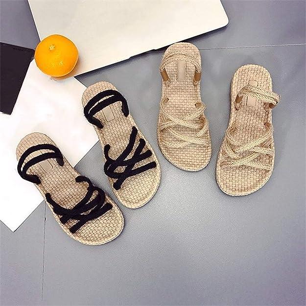 Amazon.com | Women Hemp Rope Slippers Straw Beach Sandals Flat Dual Use Open Toe Non-Slip Slipper | Sandals