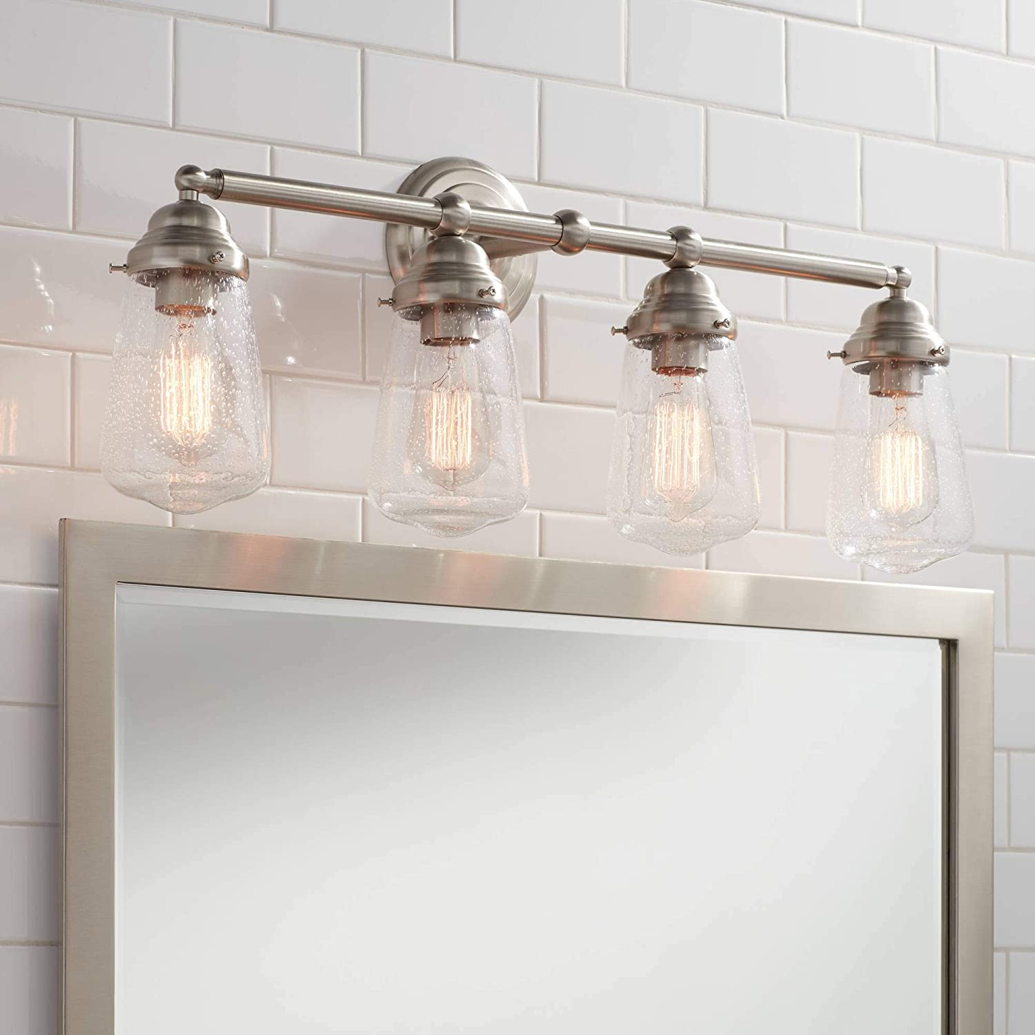 Cairon Vintage Farmhouse Industrial Wall Mount Light Brushed Nickel Silver Hardwired 28