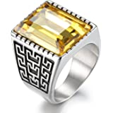 Boho Jewelry Mens Stainless Steel Cz Ring Vintage Large Charming Gemstone Band
