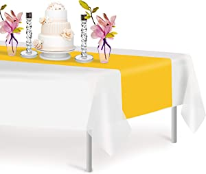 Yellow 12 Pack Premium Disposable Plastic Table Runner 14 x 108 Inch. Decorative Table Runner for Dinner Parties & Events, Decor By Grandipity