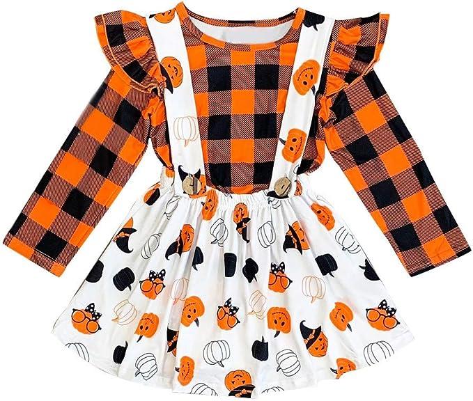 Halloween Toddler Girls Girl Clothes Ruffle Romper Top Suspender Pumpkin Bat Ghost Skirt Outfit Set
