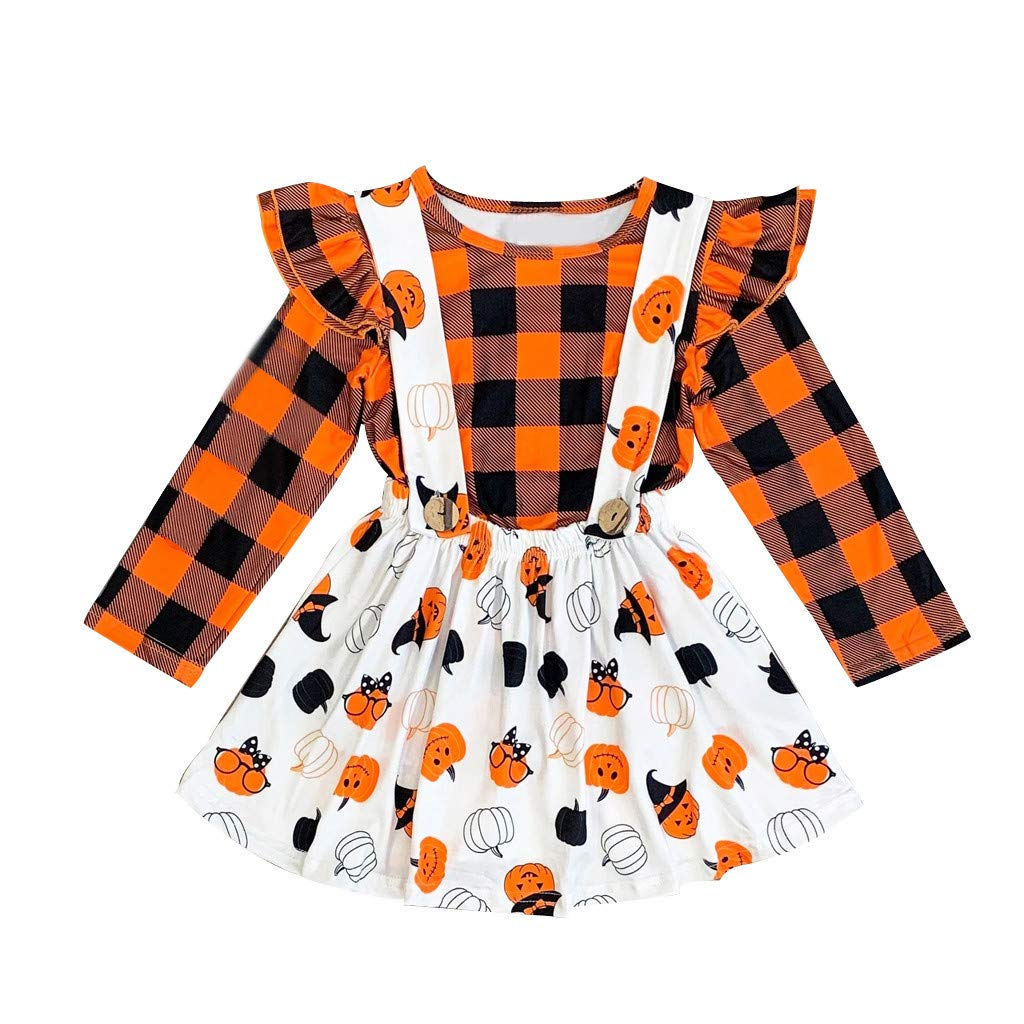 First Thanksgiving Baby Girl Plaid Ruffles Halloween Tops Pumpkin Skirt Overall Dress Outfits (2-3 Years, Orange) by sweetnice Girls Dress
