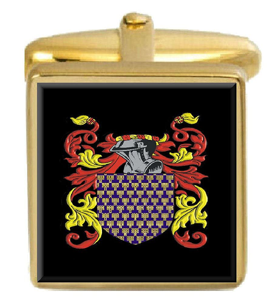 Select Gifts Bromell England Family Crest Surname Coat Of Arms Gold Cufflinks Engraved Box