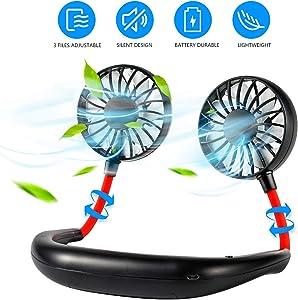 Hand-Free Personal Fan, Portable Mini Fan USB Rechargeable, 360 Degree Free Rotation for Traveling, Sports, Office, Reading (3 Speed Adjustable, Headphone Design) Wearable Neckband Double Fan (Black)