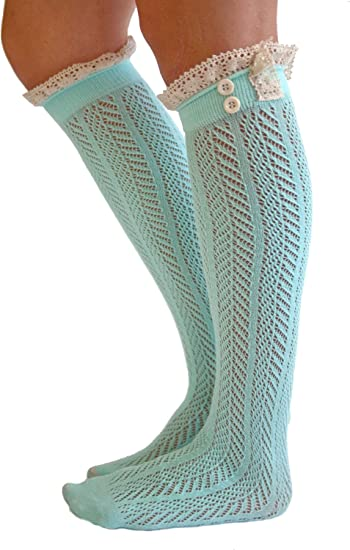 NEW Ladies Ankle Socks by Icon Collection Teal Crochet Lace with Brown Button