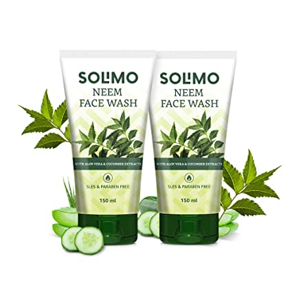 Amazon Brand - Solimo Neem Facewash with Aloe Vera & Cucumber Extracts, SLES & Paraben Free, 2 X 150 ml
