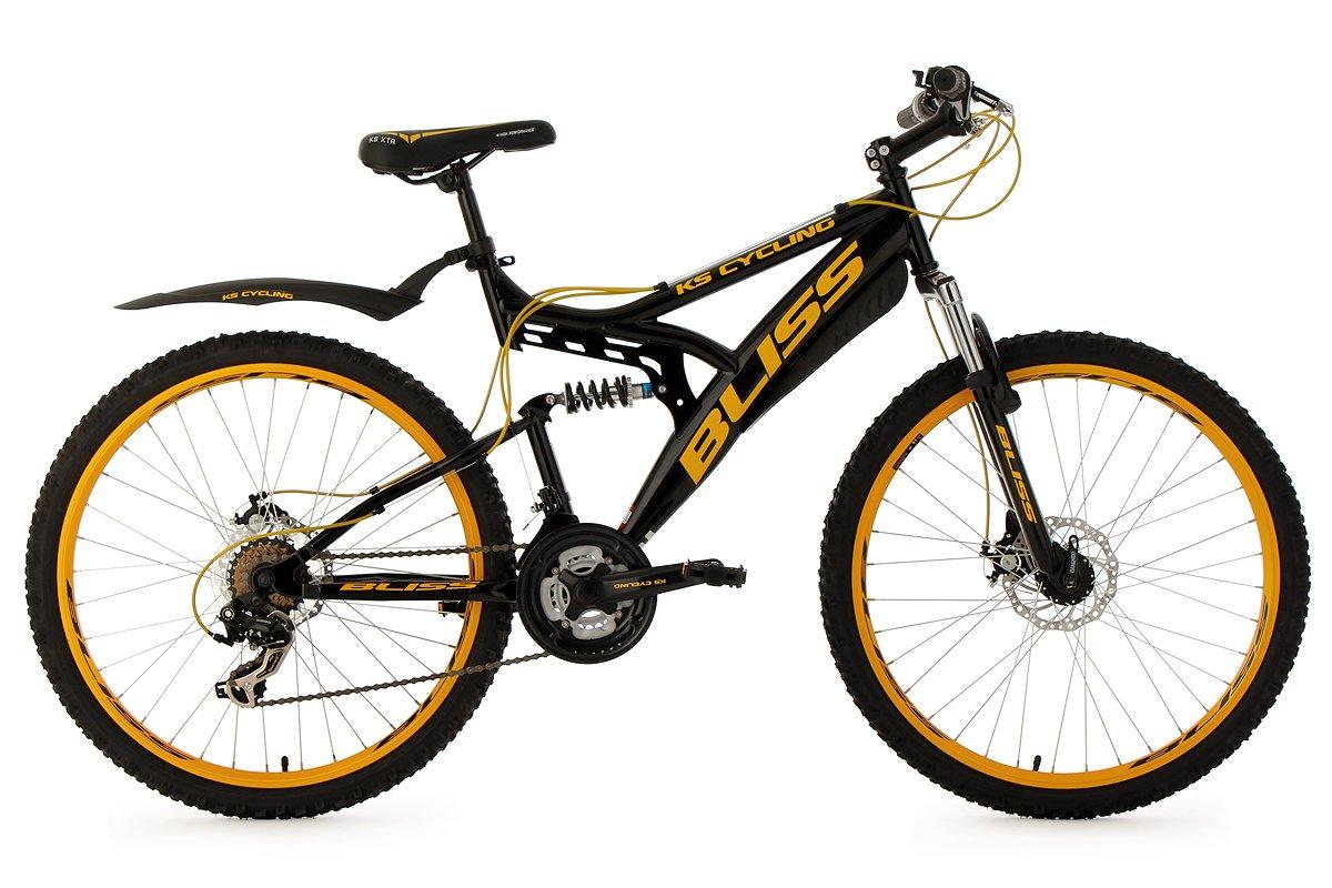 KS Cycling Fully Bliss - Bicicleta de montaña, color negro / dorado, talla M (165-172 cm), ruedas 26