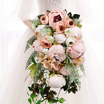 9a7c83c6e7235 HiiARug Handmade Wedding Bouquets, Pink Artificial Peony Rose Pearl Bridal  Bouquet Bride Bridesmaid Holding Flower for Wedding Party Home Decoration