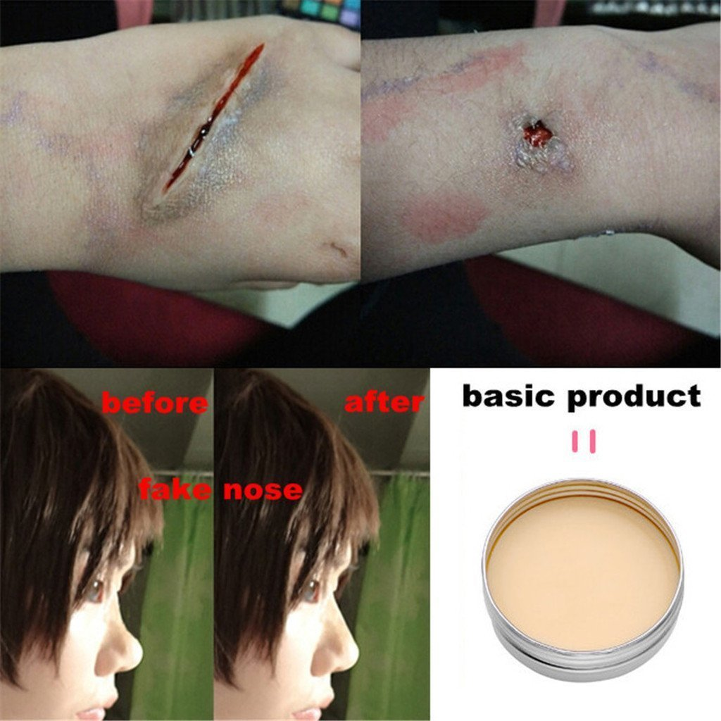 CCbeauty 3PC Set Professional Halloween Makeup kit Special Effects Stage Makeup Fake Wound Scars Wax + Oil Painting(flash color) + Spatula Tool by CCbeauty (Image #2)