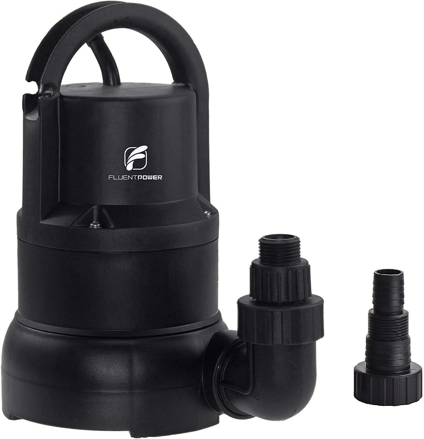 """FLUENTPOWER 1/3 HP Electric Submersible Small Utility Drain Water Pump, without Float Switch, 3/4"""" Garden Hose Connector Included with Side Discharge for Clean Water"""
