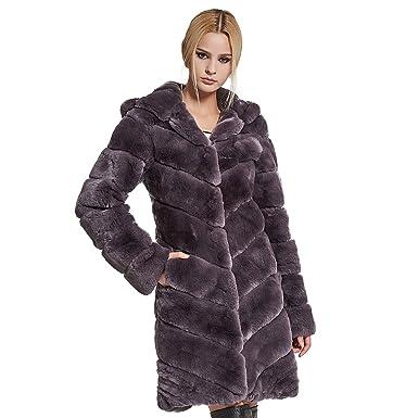 Manteau avec col en fourrure femme